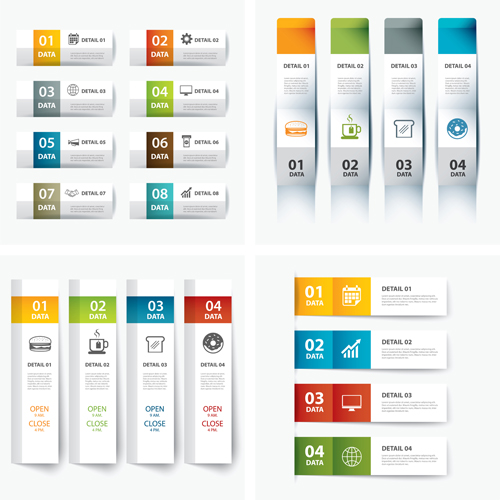 numbered infographics banners