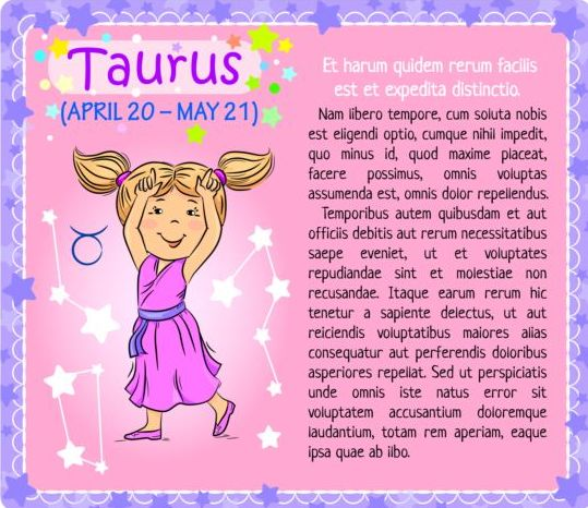 zodiac Taurus kid card