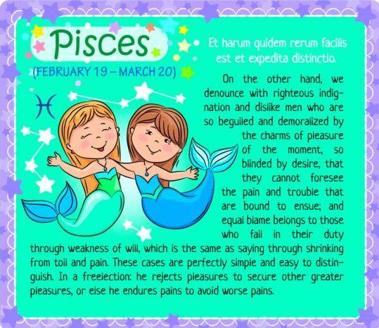 zodiac Pisces kid card