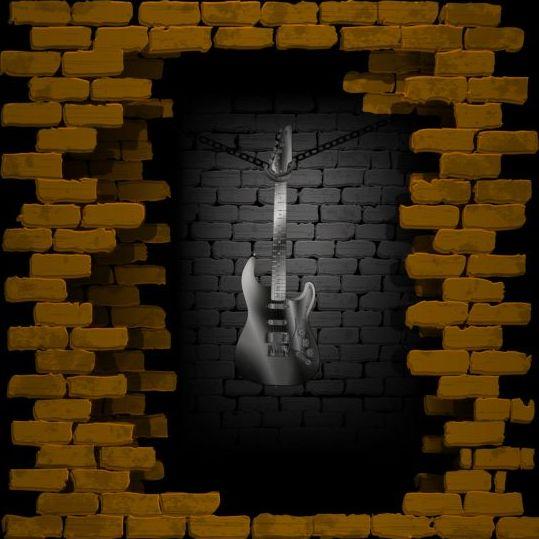 wall vintage music brick background