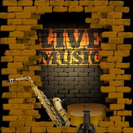 wall vintage music brick background