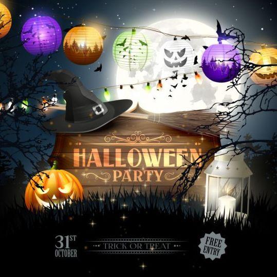 party outside lanterns halloween
