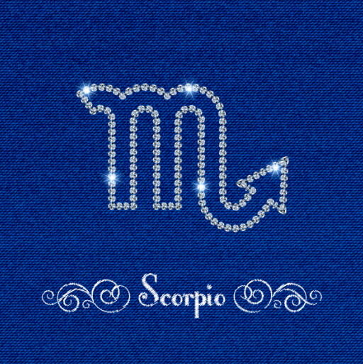 zodiac sign Scorpio fabric background