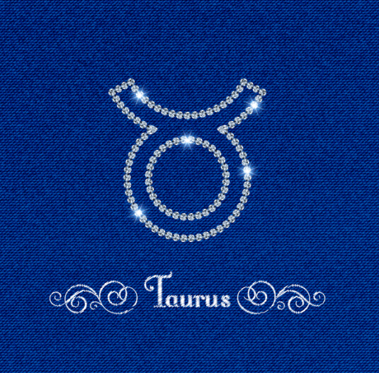 zodiac Taurus sign fabric background