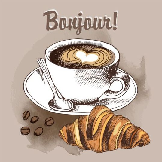hand drawn croissant coffee