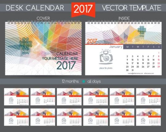 Calendar Design Vector Free Download : Company desk calendar design vector template