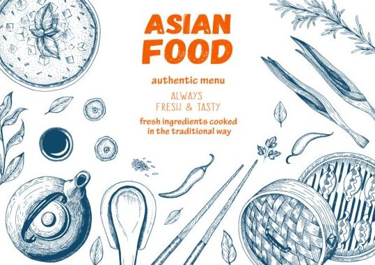 restaurant menu hand drawn Asian