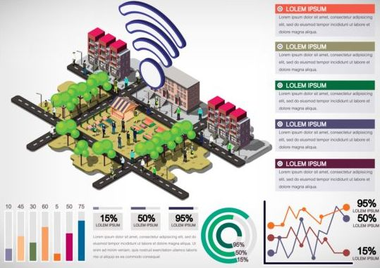 isometric infographics community communication