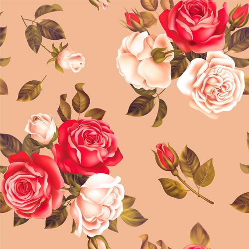white seamless rose red pattern