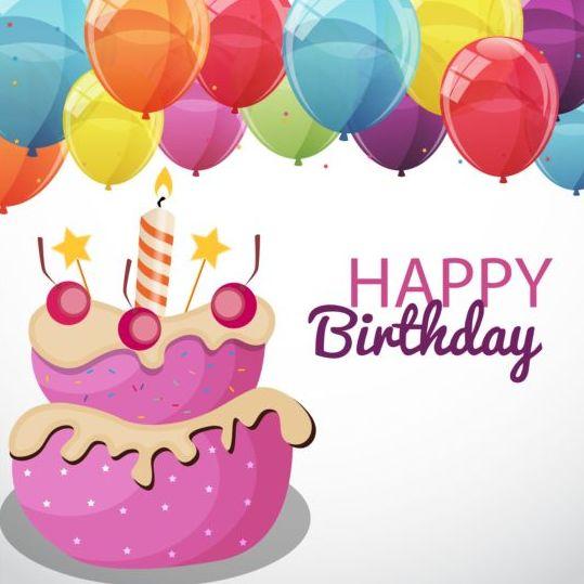 color cartoon cake birthday balloons