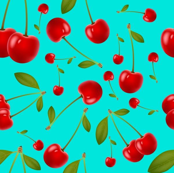 seamless pattern leaves cherries