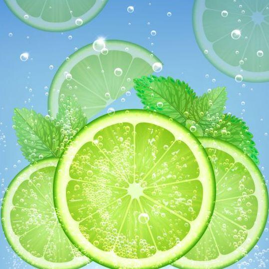 24qsw3tdnahu001 Fresh green lemon vector background