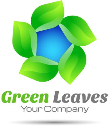 01c4es4a0sq3e02 Green leaves round logo design vector