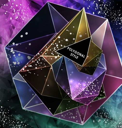 37hi4axzk0gmu03 Shining diamond with polygon abstract background vector 04