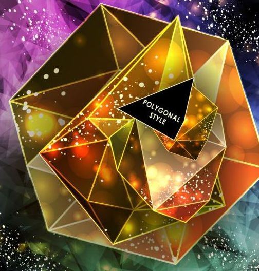 475rrtz40rvnq03 Shining diamond with polygon abstract background vector 09