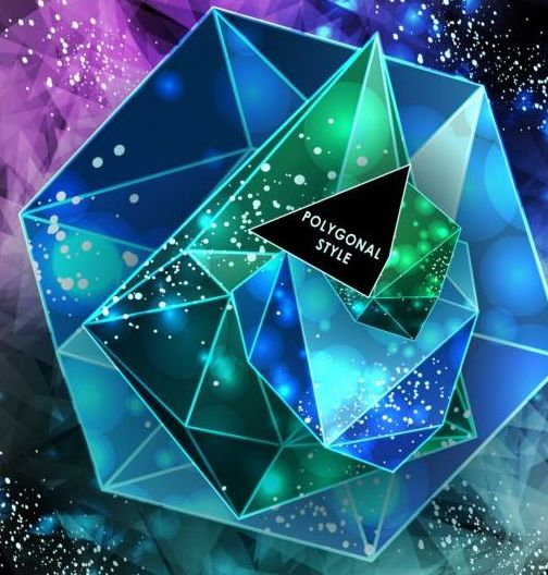 492e5aw2gftap03 Shining diamond with polygon abstract background vector 07
