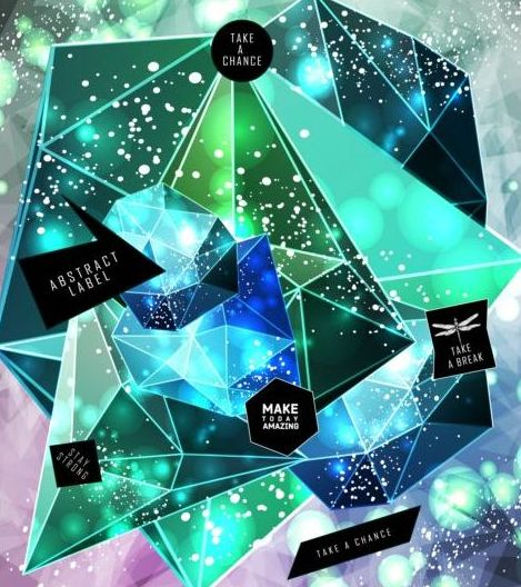 54gphq55mfacp03 Shining diamond with polygon abstract background vector 05