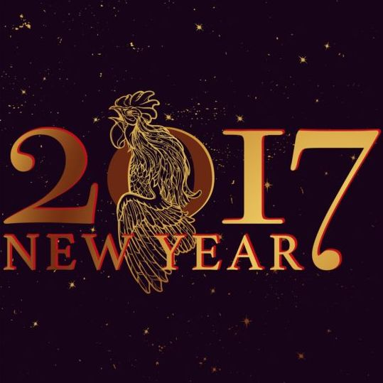 090bv4qlybjeb04 2017 New Year black background with rooster vector 03