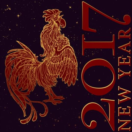 14g4eg1j5m33n04 2017 New Year black background with rooster vector 01