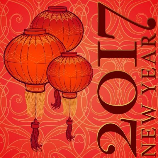 34lm4k2yytbya04 Chinese 2017 New Year red background vector 05