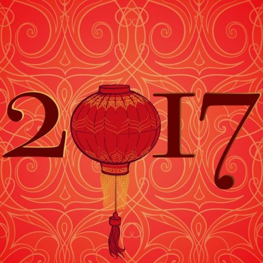 39klrseg2hcud04 Chinese 2017 New Year red background vector 01