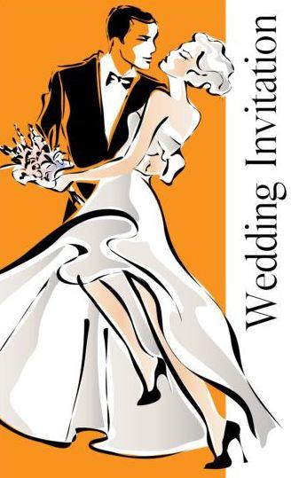 wedding invitation groom bride