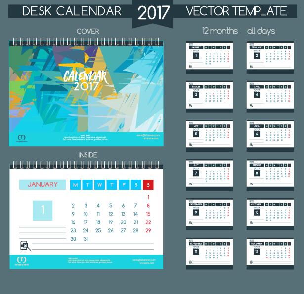 inside desk cover calendar 2017