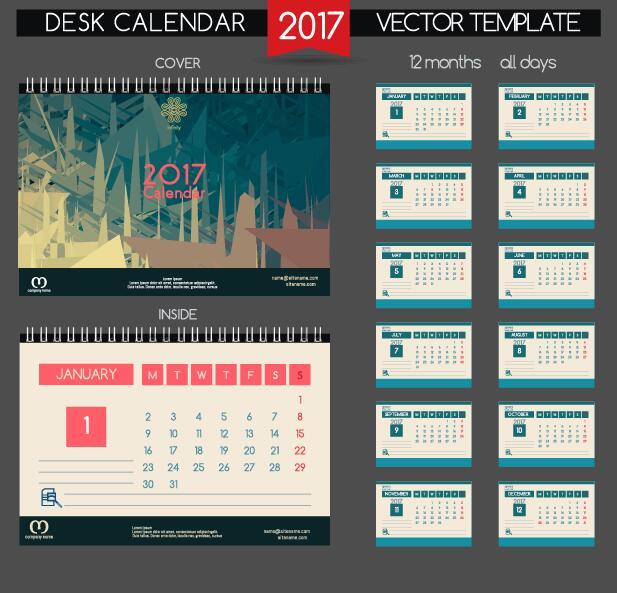 inside desk cover calendar 2017