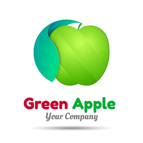 07oa25exgrpge06 Green apple logo design vector