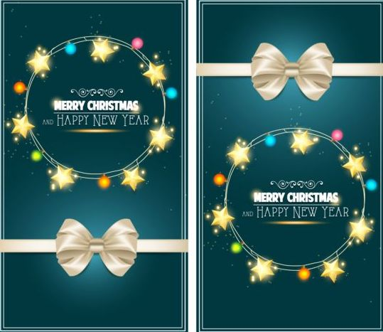 36q1rnibeo0s406 Christmas greeting card with bow and star decor vector