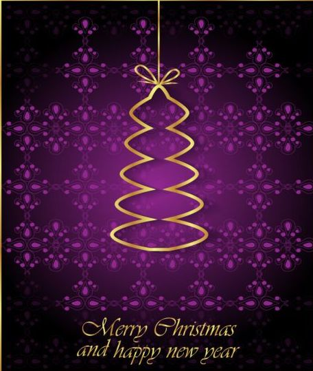 52um2fwj0svp106 Purple christmas background with golden xmas tree vectors
