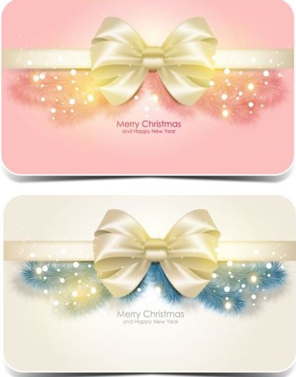 552yf0vrqwwot06 Merry christmas card with bow shiny vector 01