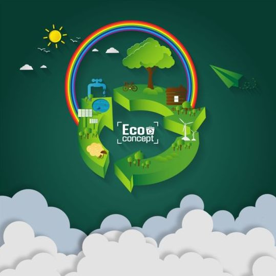24pq2ey1y3rfd07 Green eco earth with paper cloud vector template 01