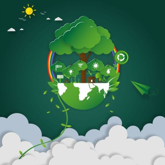 470njkzcxvwbb07 Green eco earth with paper cloud vector template 03
