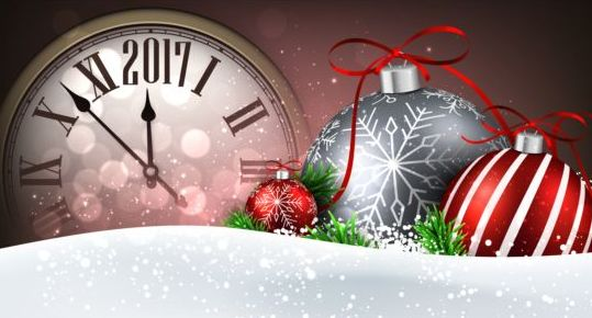 40q0vrwlbakoa08 2017 New Year background with spheres clock vector set 09