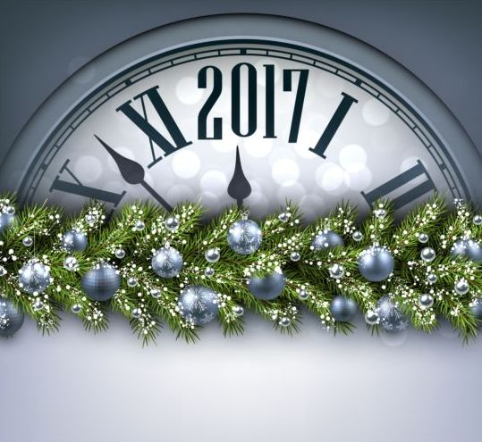 42hyvqmbppxdw08 2017 New Year background with spheres clock vector set 08