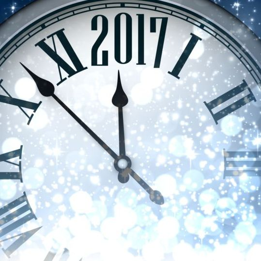 444keczbk4kyr08 2017 New Year background with spheres clock vector set 07