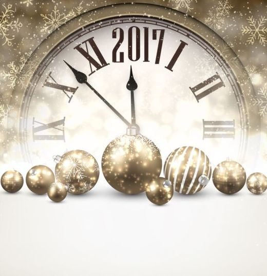 47vh0rlkuezd208 2017 New Year background with spheres clock vector set 06