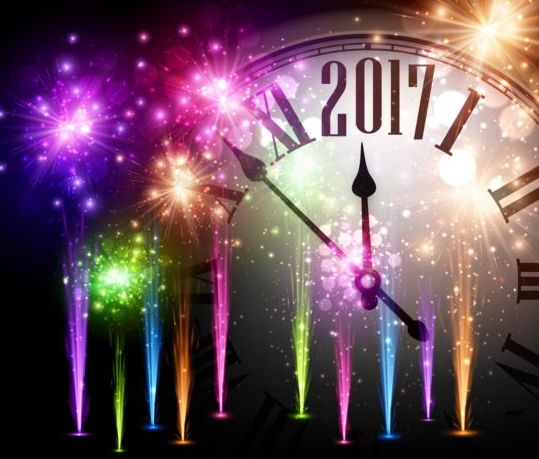 52hxephkug4x508 2017 New Year background with spheres clock vector set 03