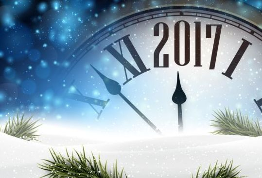 545vsyb4n33gq08 2017 New Year background with spheres clock vector set 02