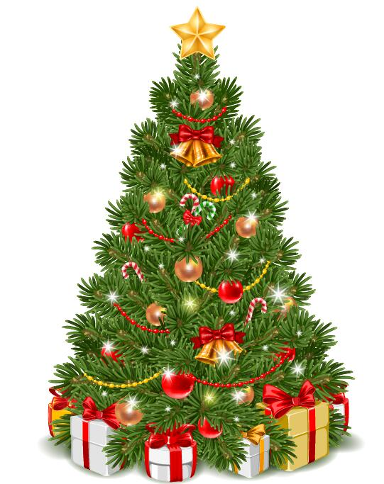 56mfafc1412hi08 Vector christmas tree with gifts design 02