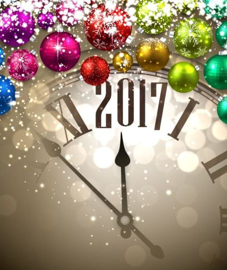 56omu35c0rpur08 2017 New Year background with spheres clock vector set 01
