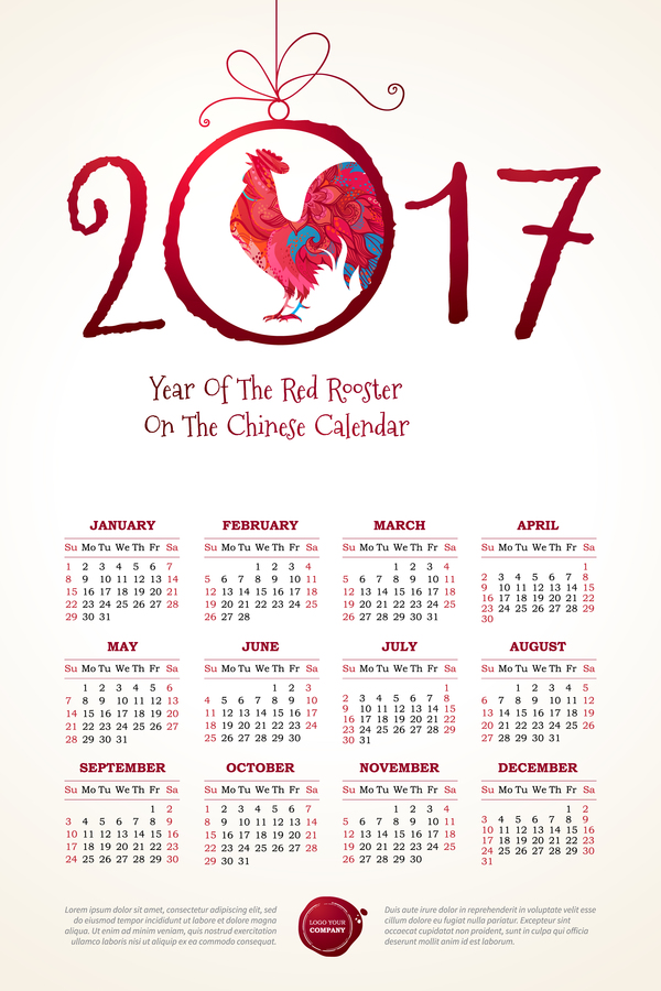 00ni3fafga1pj09 2017 chinese calendar with red rooster vector 01