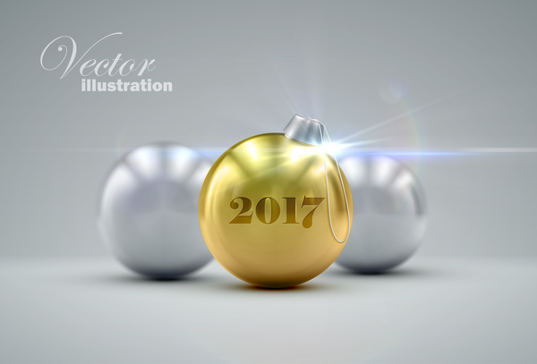 19rj55nyupca009 Golden christmas ball vector 01