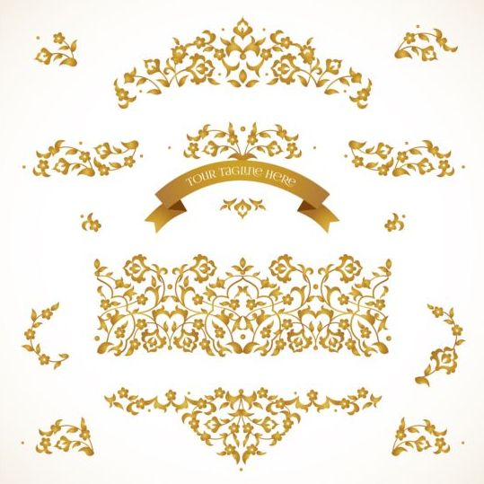 33z03j2dcyiid09 Eastern floral decor with golden ribbon vector