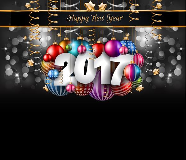 year new gold design dark 2017