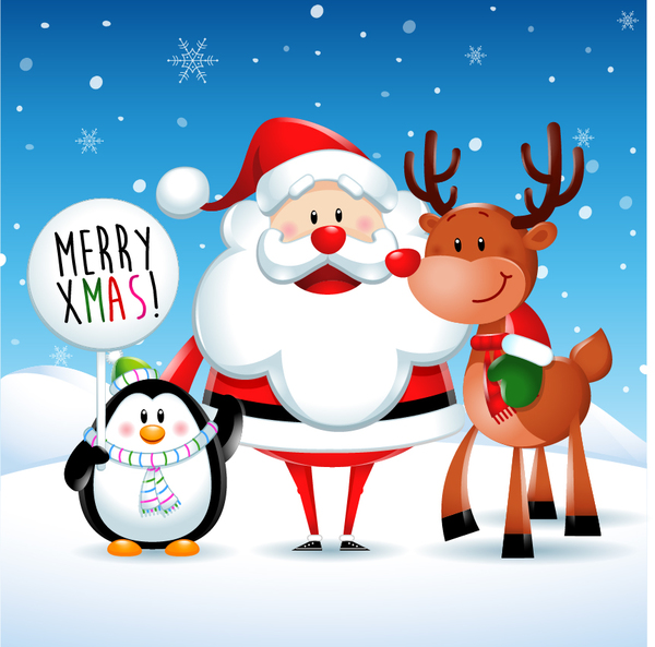 41fspvtau3lok09 Cute santa with deer and penguin christmas vector