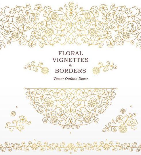 48ya20bqkc1wc09 Floral golden outline decor vector 02