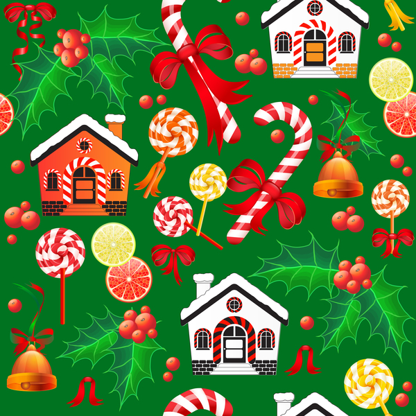seamless pattern holly christmas candy