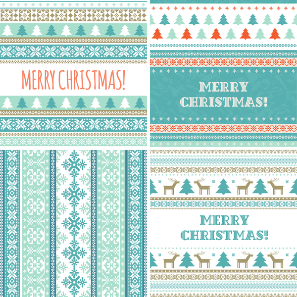 18xxkh3iht3rr10 Christmas and New Year card with seamless borders vector 07
